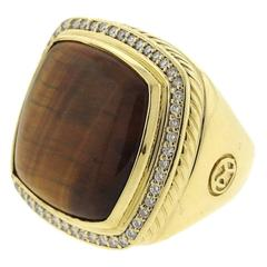 Large David Yurman Albion Gold Diamond Tiger Eye Ring