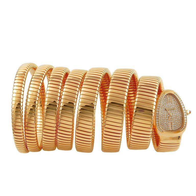 Bulgari Rose Gold Diamond Serpenti Quartz Wristwatch 1
