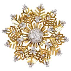 Van Cleef & Arpels Diamond and Gold Snowflake Brooch
