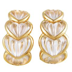 Boucheron Yellow Gold Crystal Heart Clip-On Earrings