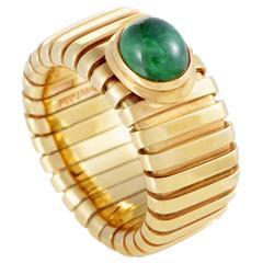 Bulgari Tubogas Yellow Gold Emerald Cabochon Band Ring