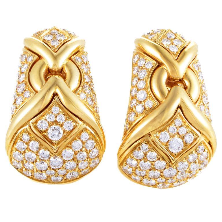 bulgari trika yellow gold diamond pave clipon earrings 1