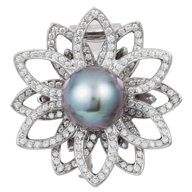 Assael Pearl and Diamond Gold Lotus Flower Brooch