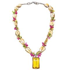 77 Carat Citrine Peridot Ruby Sterling Silver Pendant Necklace