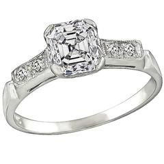 1.08 Carat Asscher Cut Diamond Engagement Ring