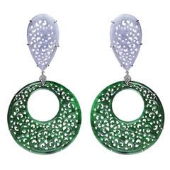Paolo Costagli Pear shape lavender jade with round green jade and diamonds