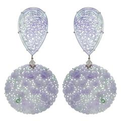 Paolo Costagli Pear Shaped and Round Lavender Jade earrings with diamonds