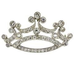 Lovely Antique Edwardian Diamond and Platinum Crown Brooch