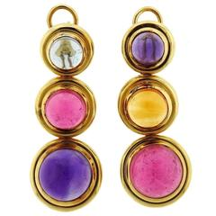 Tiffany & Co. Paloma Picasso Gold Gemstone Cabochon Drop Earrings