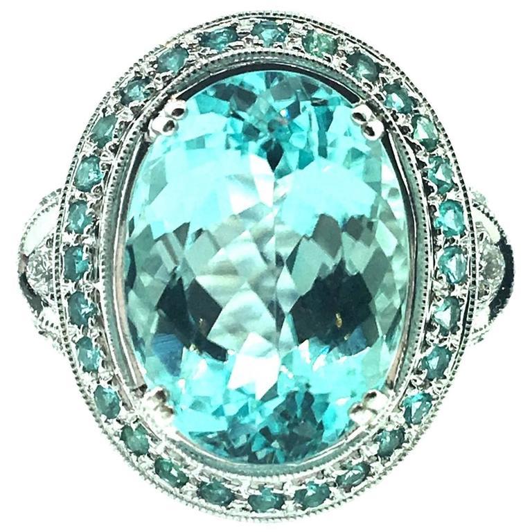 GIA Certified 8.67 Carat Paraiba Tourmaline Diamond Cocktail Ring  For Sale