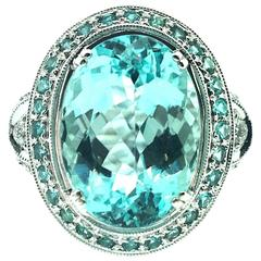 GIA Certified 8.67 Carat Paraiba Tourmaline Diamond Cocktail Ring