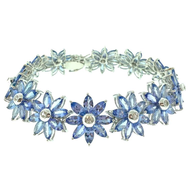 Tanzanite and Diamond Flower Bracelet in 18k White Gold