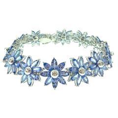 Tanzanite and Diamond Flower Bracelet in 18k White Gold