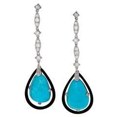 Georges Fouquet French Art Deco Turquoise, Diamond, Platinum and Enamel Earrings