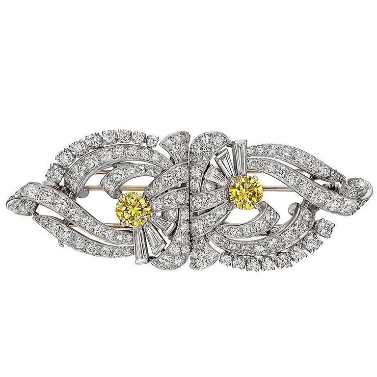 Raymond C. Yard White and Yellow Diamond Double Clip Brooch