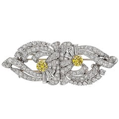 Raymond C. Yard ​White and Yellow Diamond Double Clip Brooch