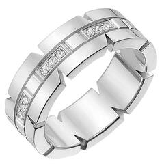 """Cartier White Gold and Diamond """"Tank Francaise"""" Band Ring"""