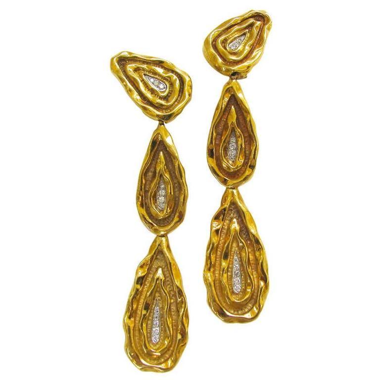 French Neiman Marcus 1970s Four Inch  Long  Diamond Gold Earrings  1