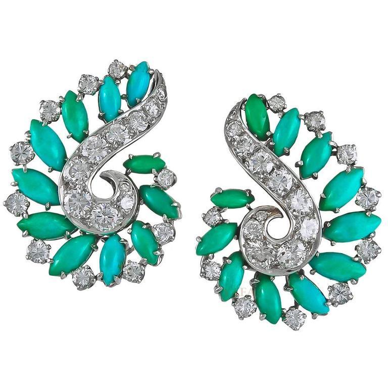 Van Cleef & Arpels Diamond Turquoise Earclips