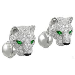 Cartier Panther Diamond  Emerald Cufflinks