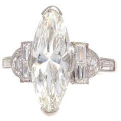 Art Deco 3.07 Carat GIA Marquise Diamond Platinum Engagement Ring