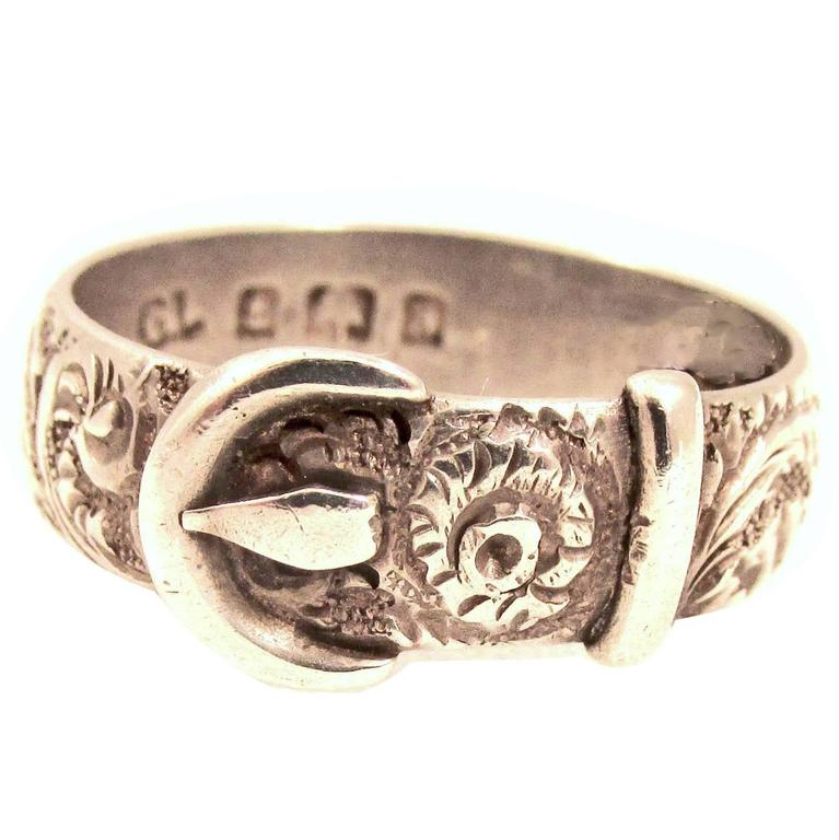 Antique Victorian Sterling Silver Buckle Ring