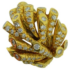 French 18K Gold and Diamond Gold Cocktail Ring