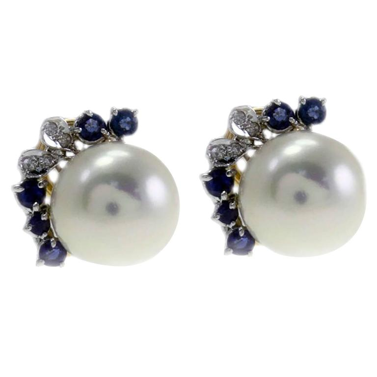 Sapphire Diamond Pearl Gold Earrings