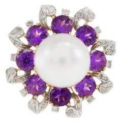 Gerbera Daisy Diamond Pearl and Amethyst Gold Ring