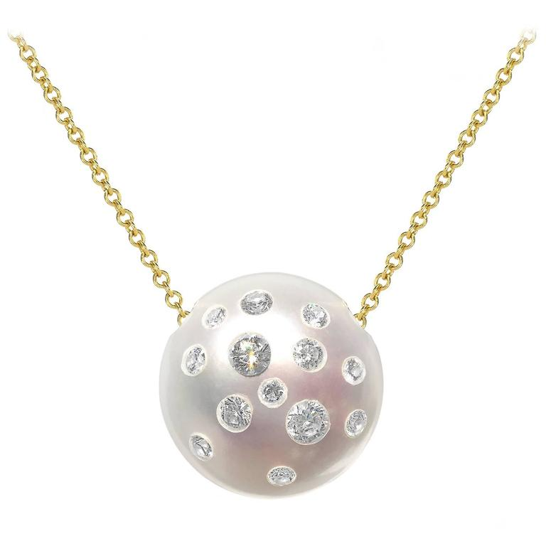 Russell Trusso White Diamond Embedded Freshwater Pearl Pendant Necklace For Sale