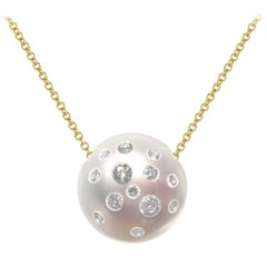 Russell Trusso White Diamond Embedded Freshwater Pearl Pendant Necklace