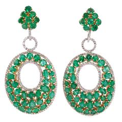 32.00 carat emerald and accent diamond earrings