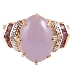 Purple jadeite, amethyst and diamond ring