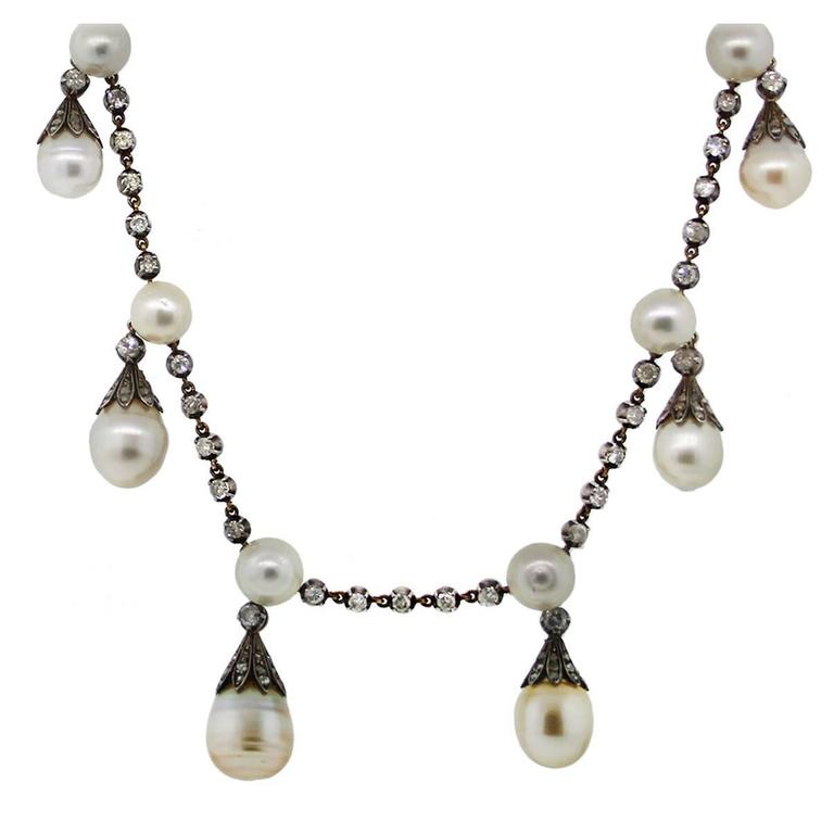 14k Yellow Gold/Silver GIA Certified Antique Pearl Diamond Necklace
