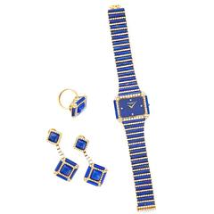 Patek Philippe Yellow Gold Lapis and Diamond Watch, Earrings, and Ring Set