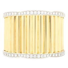 Van Cleef & Arpels Yellow Gold Diamond Cuff Bangle Bracelet