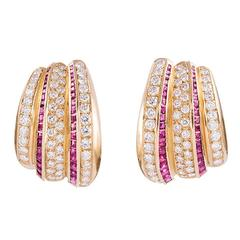 Striped Ruby  Diamond Modified Hoop Earrings