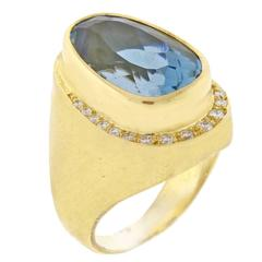 Burle-Marx Blue Topaz and Diamond Ring