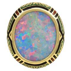 Antique Opal Enamel Gold Ring