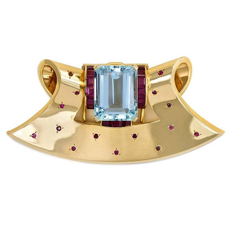 Retro  Aquamarine  Ruby Gold Clip Brooch