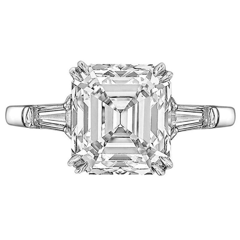 3 78 Carat Emerald Cut Diamond Engagement Ring at 1stdibs