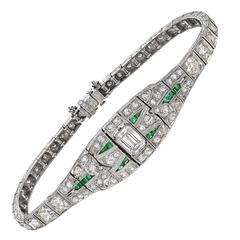 Art Deco Diamond and Emerald Panel Bracelet
