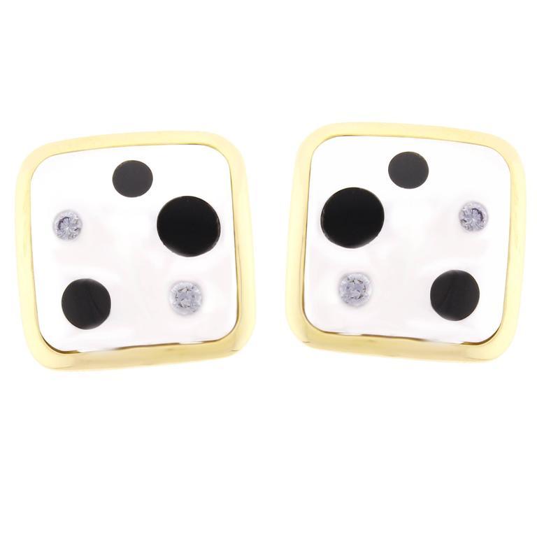 Michael Bondanza Onyx Diamond Gold Platinum Polka Earrings For Sale