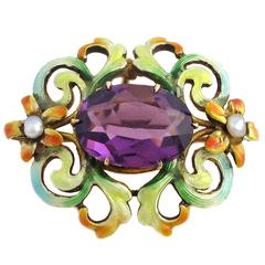 Art Nouveau Amethyst and Enamel Brooch set in Yellow Gold