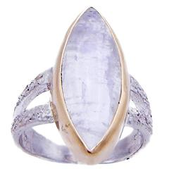 Large Marquise Moonstone Ring with Yellow Gold and Sterling Silver