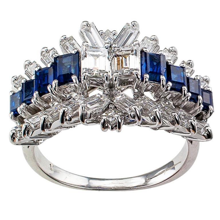 Emerald-cut Diamond and Sapphire Ring