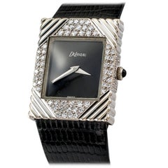 1970s DeLaneau White Gold Diamond Tuxedo Wristwatch