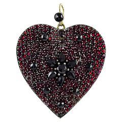 Antique Large Garnet Gold Heart Locket