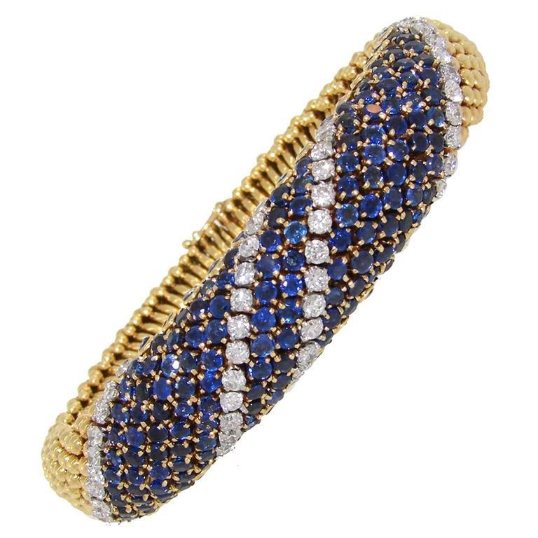1950s Van Cleef & Arpels Couscous Sapphire Diamond Gold Bracelet