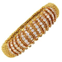 1980s Van Cleef & Arpels Diamond Gold Bracelet